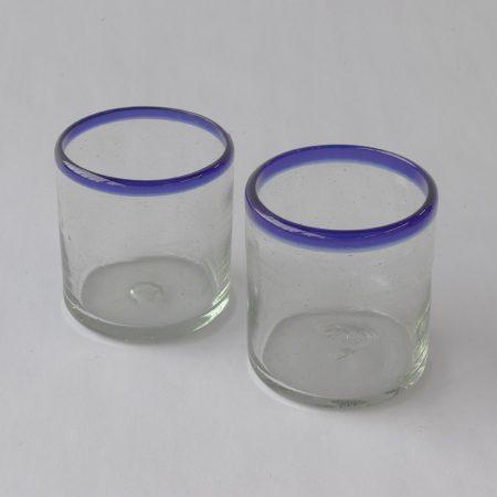 Glas kobalt handgemaakt met blauwe rand